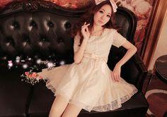 Elegant Lace und Schleife dekoriert Kleid Beige-US$ 15.14 (€ 11,51)-Großhandelspreisen bei Rock-kleidung.com