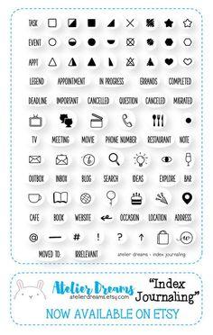 Pre-Order-Index-Journale - Planner Briefmarken (Photopolymer-Clear-Stamps) ideal für Kurzschrift-Journale, Stempel, Kawaii klare Stempel Auffüllen