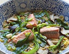 Salmon and miso noodle soup
