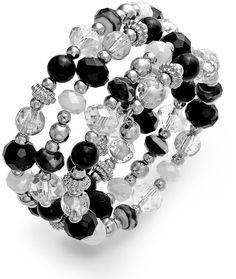 Style&co. Silver-Tone Black and White Bead Coil Bracelet Bead Jewellery, Jewelry Bracelets, Jewelry Watches, Black Jewelry, White Beads, Fashion Jewelry, Black And White, Silver, Goth