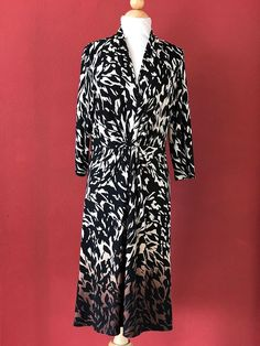 COLDWATER CREEK Black Brown Ombre Print Dress Size Petite 8 P8 #COLDWATERCreek #Shift #Cocktail