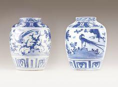 A pair of Wanli pots, Chinese porcelain, Ming dynasty, Wanli Period (1573-1619)