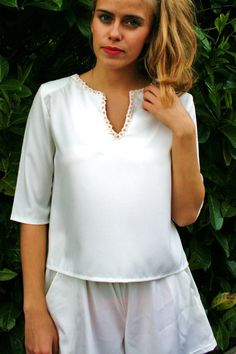 SALE  DAISY womens scoop neck white blouse top by EthelandMo