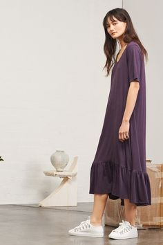 Building Block Gather Hem Dress, Plum