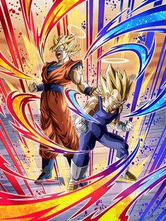 Goku and Vegeta Dragon Ball Z Dokkan Battle Dragon Ball Gt, Dragon Z, Fire Dragon, Kid Buu, Anime Echii, Gogeta And Vegito, Manga Dragon, Fanart, Art Graphique
