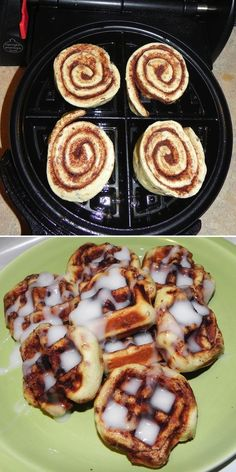 easy cinnamon roll waffles - great for summertime when you want cinnamon rolls but don't want to heat the house up cooking them!  And the icing falls into the squares in the waffle, making it easier for little ones to enjoy and make less of a mess with!  :)