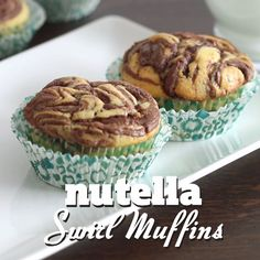 Simply irresistible moist muffins made with Nutella swirls need no more decoration or frosting as they look great as they are.