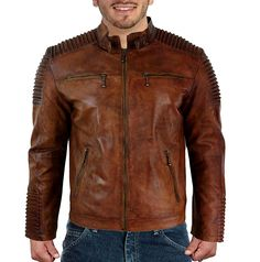 Vintage Cafe Racer Distressed Brown Biker Style Leather Jacket at Amazon Men's Clothing store:
