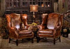 stately leather chairs - beautiful setting except I wouldn't use the cactus. Wingback Chair, Armchair, Leather Furniture, Leather Chairs, Sitting Area, My Room, My Dream Home, Rustic Decor, Home Furnishings