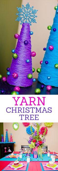 Yarn Christmas Trees - Cute Christmas Table Setting Decorations Craft