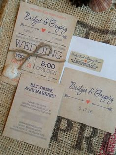 Rustic Wedding Invitations Invite Invites by SAEdesignstudio