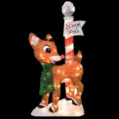 Rudolph Christmas Yard Decotaion Art 32 In LED PreLit North Pole Outdoor Holiday for sale online Christmas Light Show, Christmas Deer, Christmas Signs, Christmas Themes, Christmas Stuff, Merry Christmas, Christmas Decorations Clearance, Outdoor Christmas Decorations, Outdoor Decor