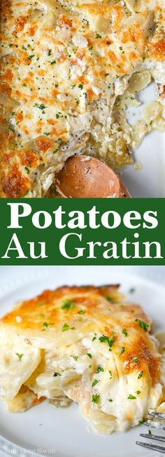 Potatoes au gratin is the ultimate comfort food. Thinly sliced potatoes covered in a creamy cheese sauce and baked until soft and tender. #augratin #scallopedpotatoes #holidaysidedish @potatoesaugratin Best Side Dishes, Healthy Side Dishes, Side Dish Recipes, Main Dishes, Dinner Recipes, Potato Dishes, Potato Recipes, Creamy Potatoes Au Gratin Recipe, Easter Recipes
