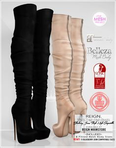 https://flic.kr/p/B18851 | REIGN.- MISHI THIGH HIGH BOOTS | THESE BOOTS ARE AVAILABLE NOW IN THE MAINSTORE!! -Sizes Included- Belleza (Freya,Isis,Venus) Maitreya Lara, Slink (Physique,Hourglass) TMP DELUXE, and an SL Body Fitted Mesh size. and...are yo