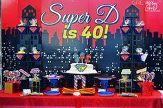 {Party of Tangled Birthday, Ice Cream Social, Superhero Birthday, First Birthday & Mario Party // Hostess with the Mostess® 40th Birthday Party Themes, Superman Birthday Party, Superhero Birthday Party, Birthday Ideas, 60th Birthday, Adult Superhero Party, Superhero Party Decorations, Superhero Halloween, Halloween 2014