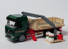 Dark Green Mercedes Truck with Crane in LEGO Ideas and needing support