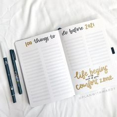 It's goal season! This 100 things to do before 2021Bullet Journal layout is an awesome way to keep track of everything you are wishing to do.   [photo credit: Maddy (@planwithmaddy)]