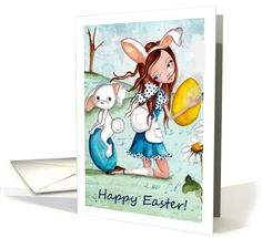 Happy Easter - Girl with Easter Bunny and eggs. card (911536) by Cartita Designs