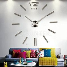$49.99  - DIY Large Number Wall Clock 3D Mirror Sticker Home Office Decor DecalSilver *** Check this awesome product by going to the link at the image. (This is an affiliate link) #LightingCeilingFans