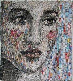 Gugger Petter portraits woven newspaper