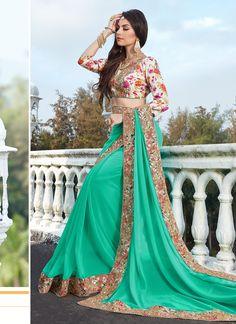 Shop Color Turquoise Georgette Saree Online