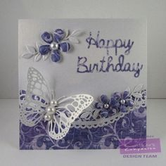 Square Card made using Crafter's Companion Sara Davies' Butterfly Lullaby  - Butterfly Dance die. Designed by Donna Mosley #crafterscompanion