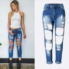 5ba445de0e7 New spring summer Womens fashion cotton ripped broken denim jeans pants  with big holes Ankle-length pants plus size   AliExpress Affiliate s Pin.