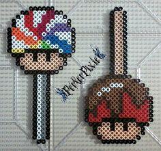 Lollipop and Caramel Apple mushrooms perler beads by PerlerPixie