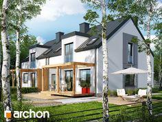 Dom w cyklamenach 5 (B) Projekt domu nowoczesnego do zabudowy bliźniaczej, na wąską działkę, z poddaszem użytkowym. Dwuspadowy dach, kotłownia na paliwo stałe, garaż jednostanowiskowy. Więcej na http://archon.pl/gotowe-projekty-domow/dom-w-cyklamenach-5-b/m892209a0a8530