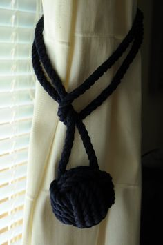 Nautical Navy Blue Monkey's Fist Curtain Tie Back Cotton by OYKNOT, $27.00