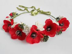 Floral Hair Wreath / Red Poppy White Flower Roses Crown / Headband of Blooms / Handmade Must Have Summer Hair Accessory for Women by BlumArtWedding, $29.99