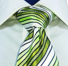 Gucci Italy Tie 100% Silk Green Stripe Satin Stitched Stripes  #Gucci #NeckTie