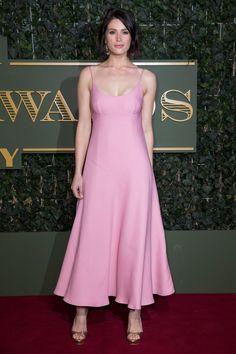 Gemma Arterton in a Prada dress with Gismondi jewelry.