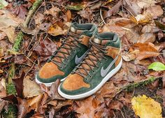 KIX & LIDZ: Homegrown x Nike SB Dunk High Premium...Nike Skateboarding is teaming up with Ithaca, New York based skate shop Homegrown to create its latest Dunk High SB drop. The collaborative design takes its cues from hiking boots and Ithaca's surrounding wilderness.  The result is a gum soled pigskin suede built sneaker that takes on outdoorsy layers of tan, green and grey. Adding to the backwoods vibe, the kicks are fitted with a tree graphic on the tongue and heel.