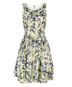 Smocked Neck Fit & Flare DressSmocked Neck Fit & Flare Dress, Yellow/Eclipse Print