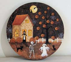 Halloween Folk Art Wooden Plate MADE TO ORDER by RavensBendFolkArt