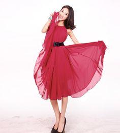 Burgundy Red Short Evening Wedding Party Dress Lightweight Sundress Summer Dress Holiday Beach Dress Bridesmaid dress Knee Length