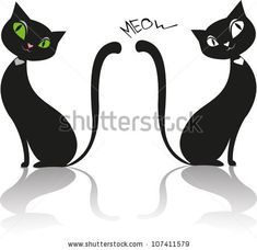 one left facing, one right facing Vector black cat - stock vector