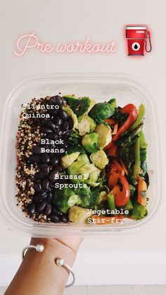 Pre or Post Workout Vegan Meal. For this and other similar recipes visit GabrielleLawson.com #Vegan #VeganLifestyle #Plantbased #PlantbasedLifestyle #CilantroQuinoa #CubanBlaclBeans #BlackBeans #BruselSprouts #VegetableStirFry #MealPrep #HealthyMealPrep #VeganMealPrep #PlantbasedMealPrep #DeliciousVeganFood #FillingVeganMeal