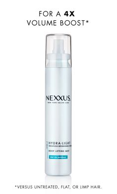 Fine hair requires a delicate touch. Nexxus Hydra-Light Root Lifting Mist is perfectly crafted for fine hair to boostroots with instant volume without weighing hair down. This lightweight formula, enriched with Deep Sea Minerals, makes hair appear thicker, fuller, and positively weightless. Try it on second day hair for an all-over volume boost.