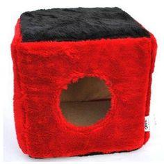 Stella Cube House Peluche Küp Peluş Kedi Evi Medium Kırmızı (28x28x28cm)