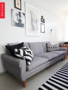 A Plaid Sofa Gets a Sleek, Affordable Makeover | Apartment Therapy