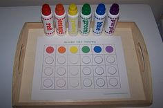 Do-A-Dot Color Match  Place one dot in each circle/box below the colored circle of the same color.  ~color matching, one to one correspondence, fine & gross motor~