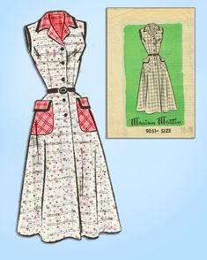edc4c6a581d 1950s Vintage Marian Martin Sewing Pattern 9051 Misses Sun Dress Size 38  Bust  MarianMartin