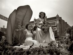"""October 1938. """"Princesses on float at the National Rice Festival parade. Crowley, Louisiana."""" View full size. 35mm nitrate negative by Russell Lee for the FSA."""