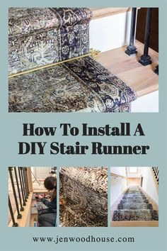 DIY Stair Runner Installation Craft Projects For Kids, Cool Diy Projects, Home Projects, Furniture Fix, Furniture Makeover, Creative Ideas, Diy Ideas, Stair Runner Installation, Diy Stair
