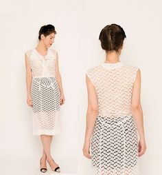 Cut Out 40s Dress . Handmade 1940s Midi . Wedding by recollectvint, $160.00