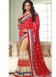 Red Georgette Half N Half Saree With Resham Work