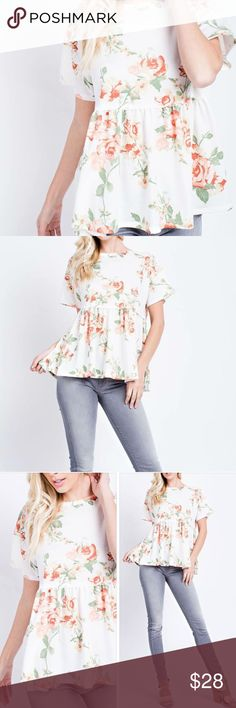 White floral peplum top fun, flirty, and floral as they come! This sassy ivory short sleeve top has a gorgeous floral pattern and a baby doll ruffle through the midsection. Tops Tees - Short Sleeve