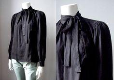 e88b0b2e18d8e1 RESERVED YSL black silk shirt   Yves Saint Laurent vintage blouse   Rive  Gauche